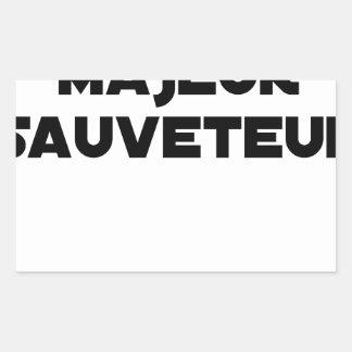 Sticker Rectangulaire Naître Majeur Sauveteur - Jeux de Mots
