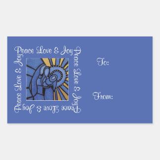 Sticker Rectangulaire Noël bleu de famille sainte de joie d'amour de