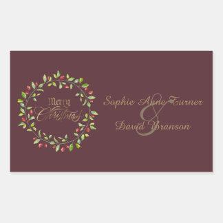 Sticker Rectangulaire Noël de baies d'hiver Joyeux d'or rouge de
