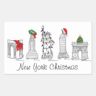 Sticker Rectangulaire Noël de vacances de points de repère de Noël NYC