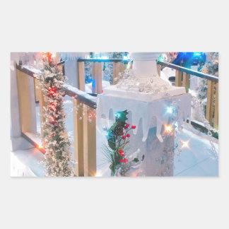 Sticker Rectangulaire Noël du pays des merveilles d'hiver bonnes fêtes