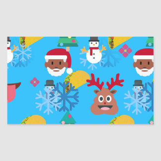 Sticker Rectangulaire Noël noir de taco de père Noël