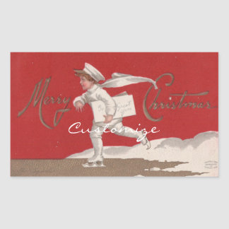 Sticker Rectangulaire Noël vintage de patinage de Thunder_Cove de garçon