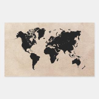 Sticker Rectangulaire noir de carte du monde