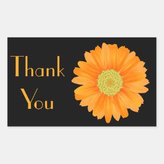 Sticker Rectangulaire Noir orange floral de fleur de marguerite de