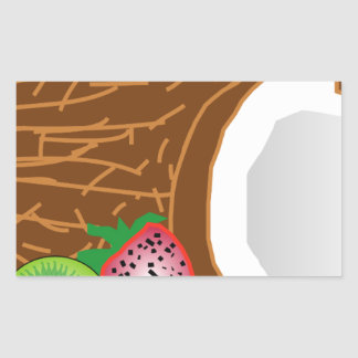 Sticker Rectangulaire Noix de coco tropicales de kiwi