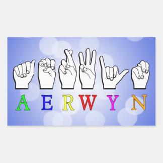 STICKER RECTANGULAIRE NOM SOURD DE SIGNE D'AERWYN FINGERSPELLED ASL