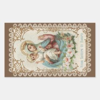 Sticker Rectangulaire Notre Madame du chapelet avec le bébé Jésus