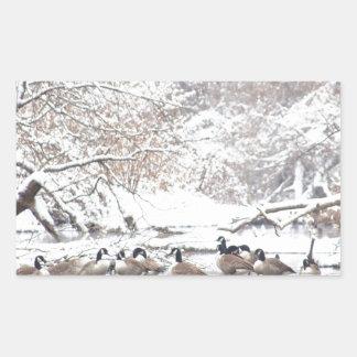 Sticker Rectangulaire Oies dans la neige
