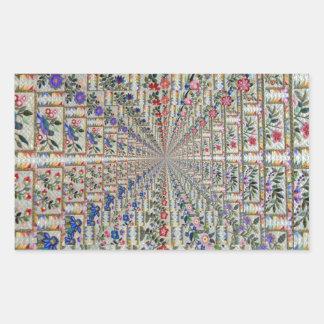 Sticker Rectangulaire Oiseaux et fleurs de motif de broderie