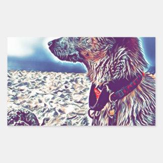 Sticker Rectangulaire Opale le bon à rien Heeler de plage