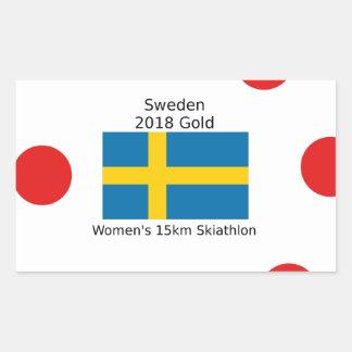 Sticker Rectangulaire Or 2018 de la Suède - 15km Skiathlon des femmes