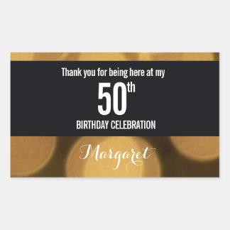 Sticker Rectangulaire Or et thème noir, cinquantième anniversaire