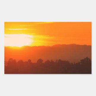 Sticker Rectangulaire Orange orange Sun de ciel de Hollywood Los Angeles