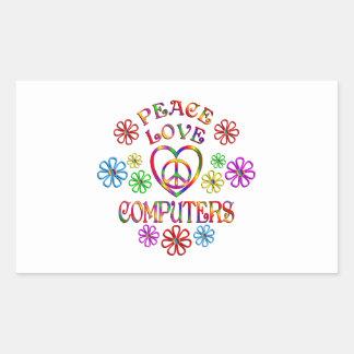 Sticker Rectangulaire Ordinateurs d'amour de paix