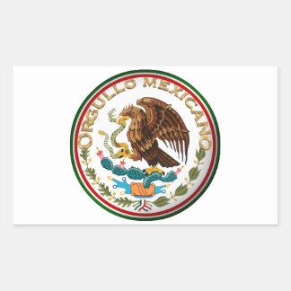 Sticker Rectangulaire Orgullo Mexicano (Eagle de drapeau mexicain)