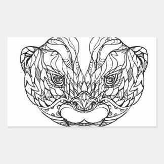Sticker Rectangulaire Oriental De petite taille-a griffé l'art de