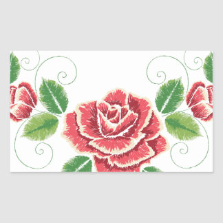 Sticker Rectangulaire Ornement de rose rouge de broderie