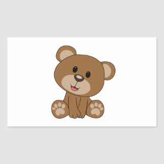 Sticker Rectangulaire Ours de nounours de Brown