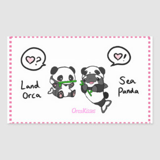 Sticker Rectangulaire Panda de mer + amis d'orque de terre