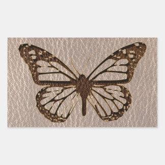 Sticker Rectangulaire Papillon simili cuir mou