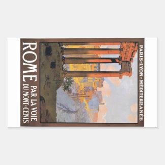 Sticker Rectangulaire Paris 1920 à l'affiche de voyage de train de Rome