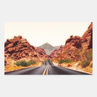 Sticker Rectangulaire Paysage de voyage de route de route de montagnes