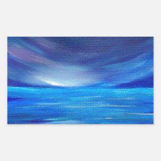 Sticker Rectangulaire Paysage marin abstrait de bleu et de pourpre