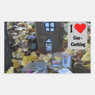 Sticker Rectangulaire Peau de boîte en bois : Geocaching
