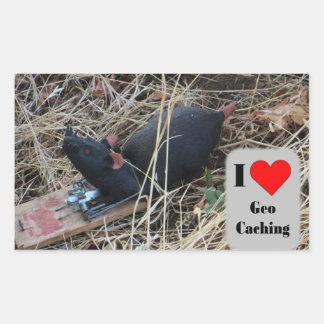 Sticker Rectangulaire Peau de cachette de rat : Geocaching