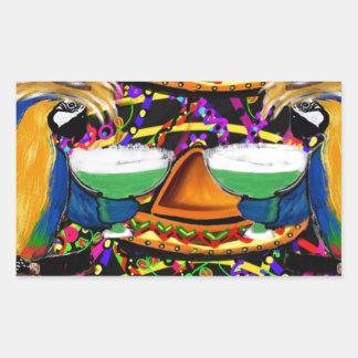 Sticker Rectangulaire Perroquet de partie de Cinco De Mayo
