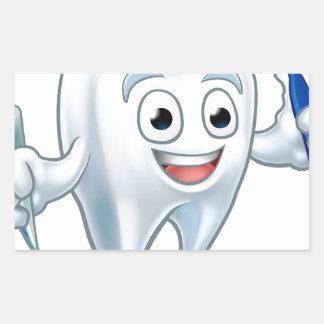 Sticker Rectangulaire Personnage de dessin animé de mascotte de dent