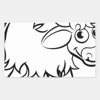 Sticker Rectangulaire Personnage de dessin animé de yaks