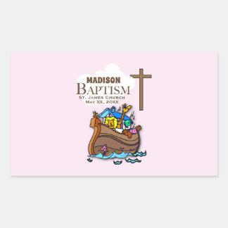 Sticker Rectangulaire Personnalisable, l'arche de Noé de baptême de bébé