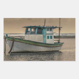 Sticker Rectangulaire Petit bateau à l'océan Porto Galinhas Brésil