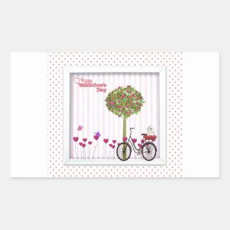 Sticker Rectangulaire Petit chien, panier, bicyclette, arbre de fleur et