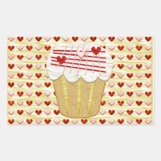 Sticker Rectangulaire Petit gâteau de Valentine avec des bougies de