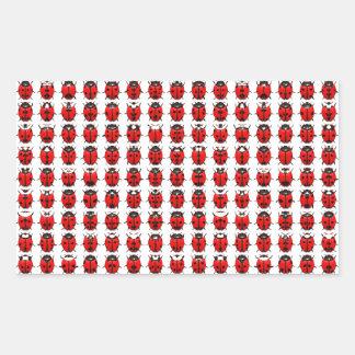 Sticker Rectangulaire Petites coccinelles rouges