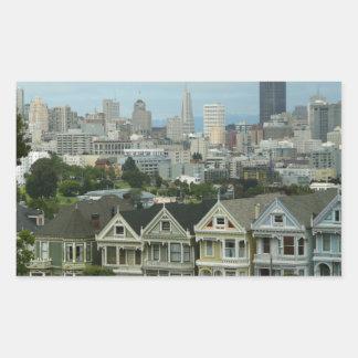 Sticker Rectangulaire Photographie de scène de ville de rangée de carte