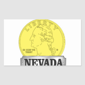 Sticker Rectangulaire Pièce d'or du Nevada