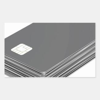 Sticker Rectangulaire Pile avec les cartes en plastique vierges avec la