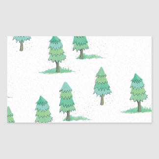 Sticker Rectangulaire pines winter plus forest