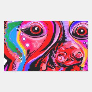 Sticker Rectangulaire Pinscher de dobermann dans des couleurs lumineuses
