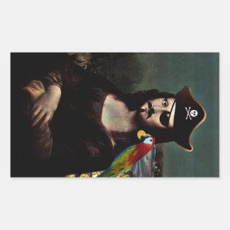 Sticker Rectangulaire Pirate de Mona Lisa avec la moustache