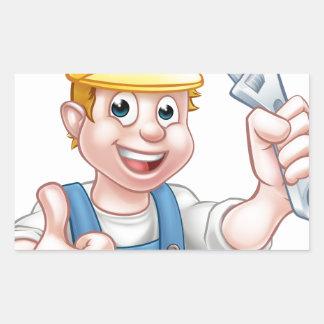 Sticker Rectangulaire Plombier ou mécanicien de personnage de dessin