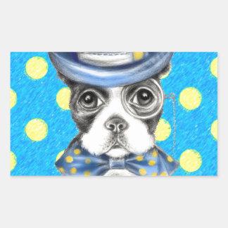 Sticker Rectangulaire Point de polka de Boston Terrier