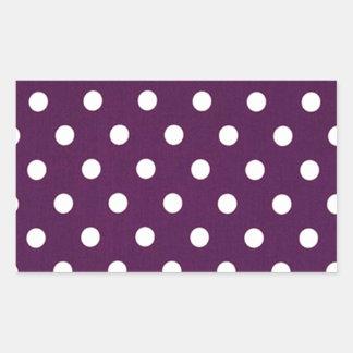 Sticker Rectangulaire Pois blanc sur le pourpre foncé