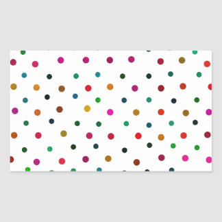 Sticker Rectangulaire Pois multicolore. Rouge, bleu, Brown, vert