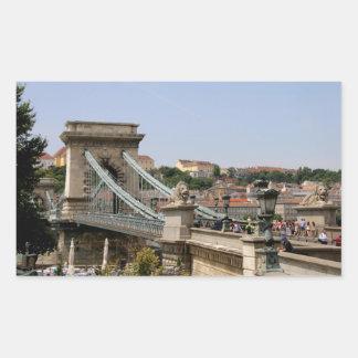 Sticker Rectangulaire Pont à chaînes de Széchenyi, Budapest, Hongrie