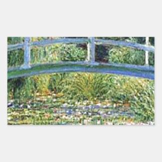 Sticker Rectangulaire Pont d'étang de lis - insérez votre animal